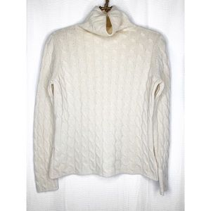Sweaters - 100% cashmere cream cable knit turtleneck